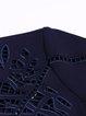 Dark Blue Embroidered Cotton 3/4 Sleeve Mini Dress