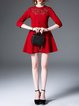 Crimson Pierced Embroidered Cotton A-line 3/4 Sleeve Mini Dress