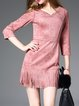 Pink 3/4 Sleeve Beaded Fringed Mini Dress