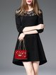 Paneled 3/4 Sleeve A-line Girly Crew Neck Midi Dress