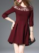 Wine Red Cotton-blend Crew Neck Plain 3/4 Sleeve Midi Dress