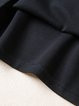 Black Animal Embroidered Crew Neck Casual Midi Dress