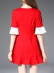 Bell Sleeve Elegant Mermaid Color-block Mini Dress