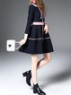 Color-block Shirt Collar Long Sleeve Midi Dress