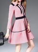 Pink Binding Color-block A-line Midi Dress