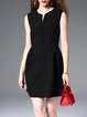 Black A-line Plain V Neck Sleeveless Mini Dress