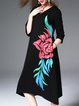 3/4 Sleeve Vintage Floral Print Midi Dress