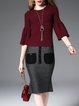 Wine Red Bell Sleeve Knitted Plain Sweater