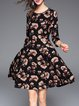 Multicolor Floral A-line Vintage Crew Neck Midi Dress