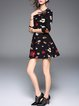 Multicolor Floral-print Vintage Crew Neck Mini Dress