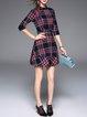 Beaded 3/4 Sleeve Casual Checkered/Plaid Mini Dress