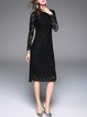 Elegant Lace Long Sleeve A-line Midi Dress