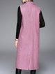 Pink Elegant Shift Lapel Checkered/Plaid Vests And Gilet