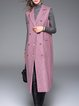 Pink Elegant Shift Lapel Checkered/Plaid Vests And Gilet
