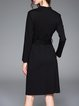 Black Crew Neck Long Sleeve Sheath Midi Dress