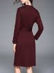 Wine Red Sheath Long Sleeve Pockets Midi Dress