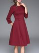Wine Red Cotton Beaded Elegant Midi Dress