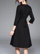 Black A-line Cotton Beaded Long Sleeve Midi Dress