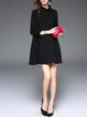 Black Stand Collar Beaded 3/4 Sleeve Plain Mini Dress