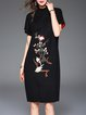 Black Floral-embroidered Cotton Elegant Midi Dress