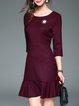 Red 3/4 Sleeve Ruffled Printed Mini Dress