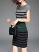 Green Sheath Wool Blend Short Sleeve Crew Neck Midi Dress