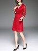Red 3/4 Sleeve V Neck Lace A-line Midi Dress