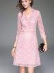 Pink V Neck Lace 3/4 Sleeve Midi Dress