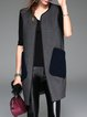 Gray Wool Blend Sleeveless Pockets Vest