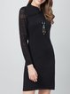 Black Knitted Stand Collar Long Sleeve Plain Sweater Dress