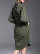 Army Green Asymmetrical Cotton-blend Long Sleeve Shirt Dress