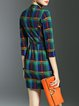 Green Checkered/Plaid 3/4 Sleeve Sheath Mini Dress