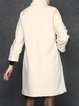 Beige Elegant Crew Neck Shift Wool Coat