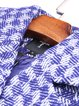 Blue Wool Lapel Elegant Checkered/Plaid Trench Coat