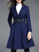 Cotton-blend Simple Long Sleeve Buttoned Plain Coat with Belt
