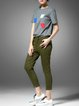 Green Plain Pockets Casual Cotton Jeans