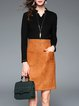Black V Neck Color-block Long Sleeve Plain Midi Dress