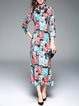 Multicolor Floral-print Vintage Long Sleeve Stand Collar Midi Dress