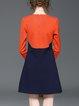 Color-block Cotton A-line Long Sleeve Mini Dress