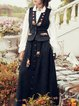 Black Suede Boho Floral Embroidered A-line Maxi Skirt