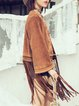 Fringed Embroidered H-line Long Sleeve Boho Tribal Faux Suede Coat