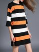 Orange Shift Stripes Long Sleeve Sweater Dress
