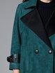 Green Casual Buttoned Lapel Coat