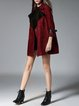 Wine Red Lapel Buttoned Casual Coat