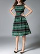 Green Vintage Polyester Tribal Printed Midi Dress