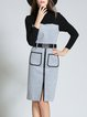 Gray Long Sleeve Pockets Color-block Midi Dress