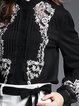 Black Embroidered Pleated Long Sleeve Blouse