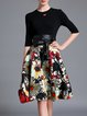 Two Piece Knitted Half Sleeve Vintage Floral-print Midi Dress