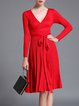 A-line Elegant Pleated Long Sleeve Midi Dress
