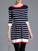 Navy Blue Stripes Casual Color-block Mini Dress